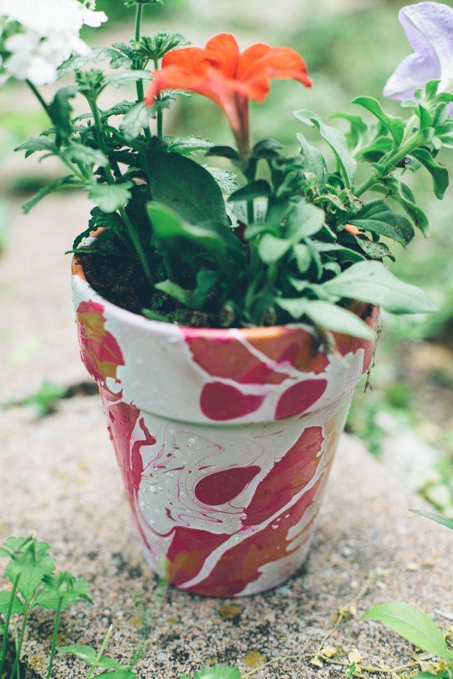 20+ Creative Uses of Nail Polish That You Need to Try --> Nail Polish Marbled DIY Planters
