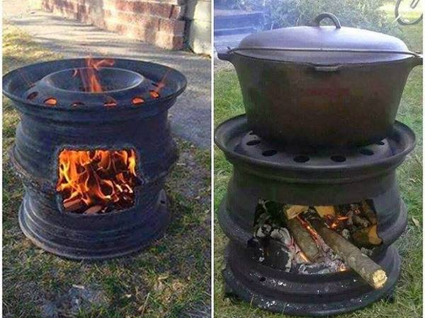 Creative Ideas - DIY Recycled Car Wheel Fire Pit BBQ (Video)
