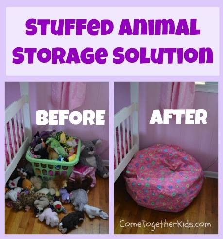 20+ Creative DIY Ways to Organize and Store Stuffed Animal Toys --> Fill a Bean Bag Cover with Stuffed Animals and Turn It into a Comfy Reading Spot