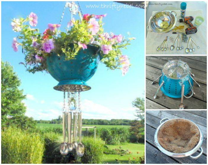Creative Ideas - DIY Strainer Planter Wind Chime