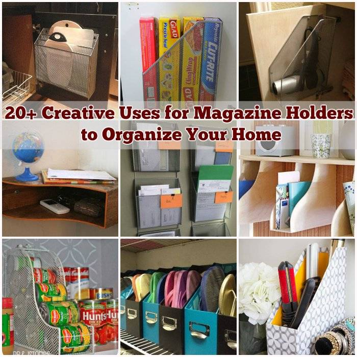 20 creative uses for magazine holders to organize your home. Black Bedroom Furniture Sets. Home Design Ideas