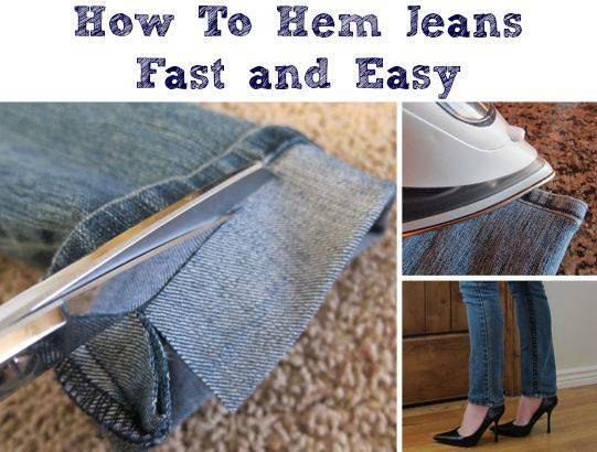35+ Useful Clothing Hacks Every Woman Should Know --> How to hem jeans fast and easy