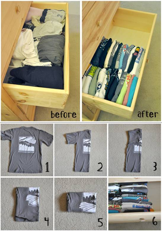 35+ Useful Clothing Hacks Every Woman Should Know --> How to fold and organize your t-shirts in the drawer