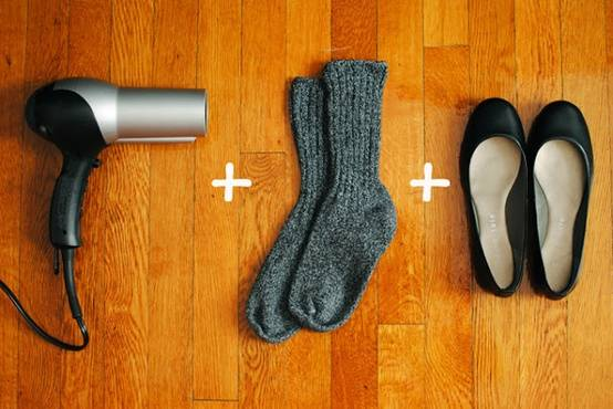 35+ Useful Clothing Hacks Every Woman Should Know --> Stretch out tight shoes by putting them on with socks and blow with a hot hairdryer