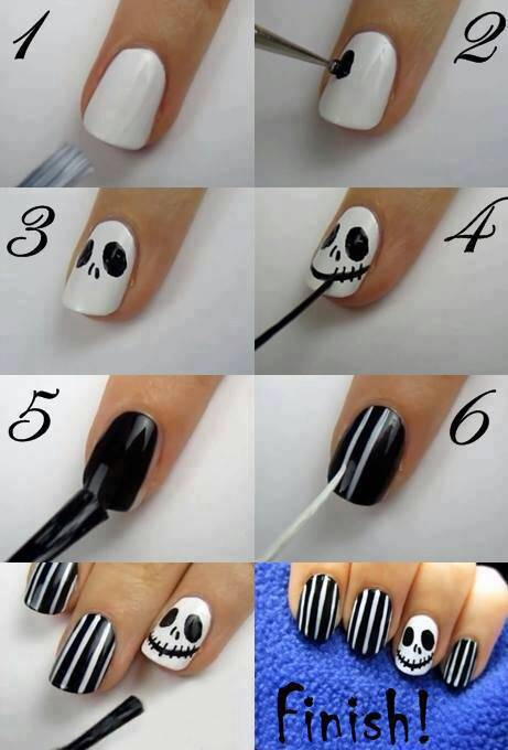 40+ Spooky and Creative DIY Halloween Nail Art Ideas --> Jack Skellington  Nail - 40+ Spooky And Creative DIY Halloween Nail Art Ideas