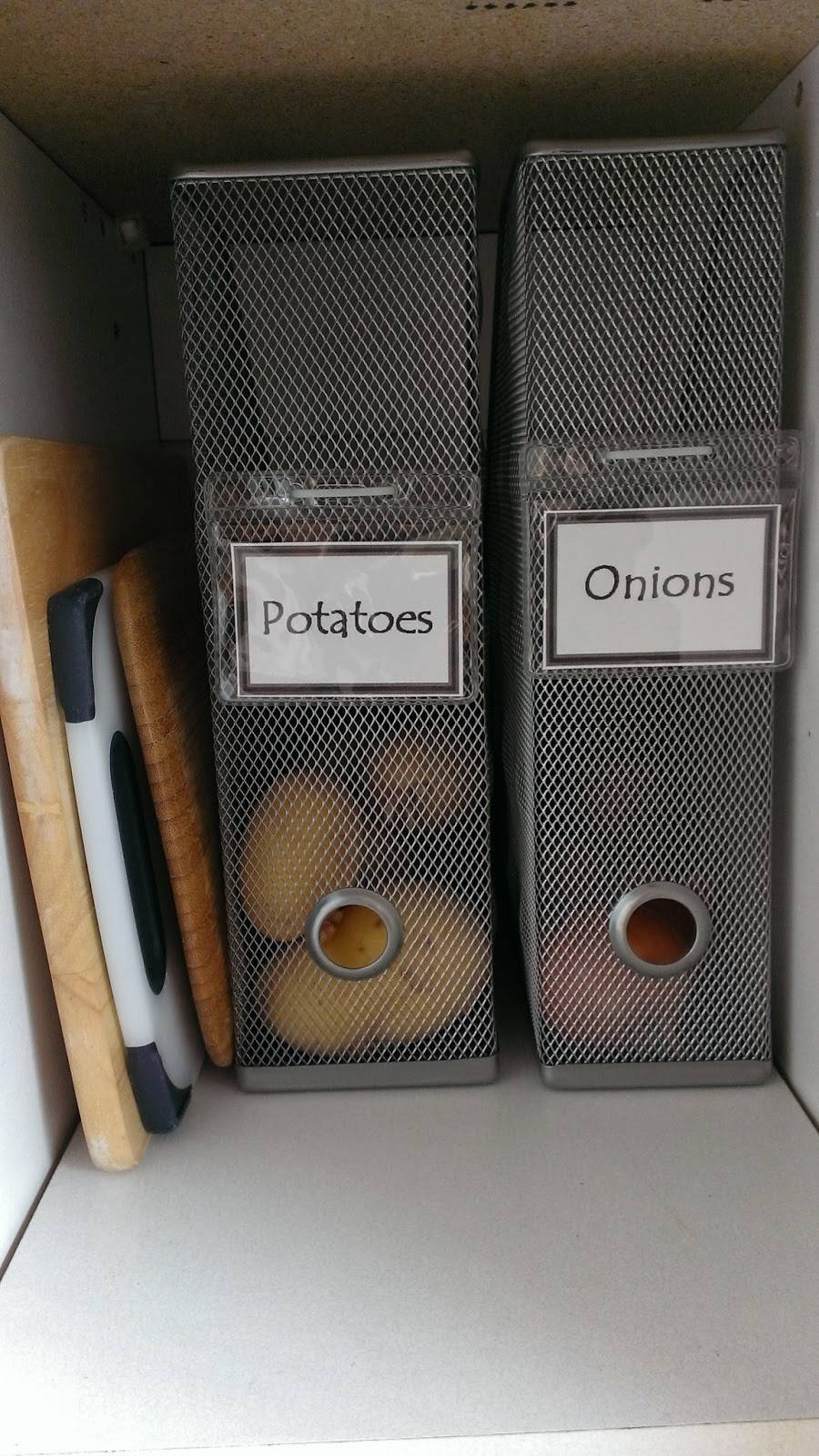 20+ Creative Uses for Magazine Holders to Organize Your Home --> Use mesh magazine holders to corral produce such as potatoes and onions and label them
