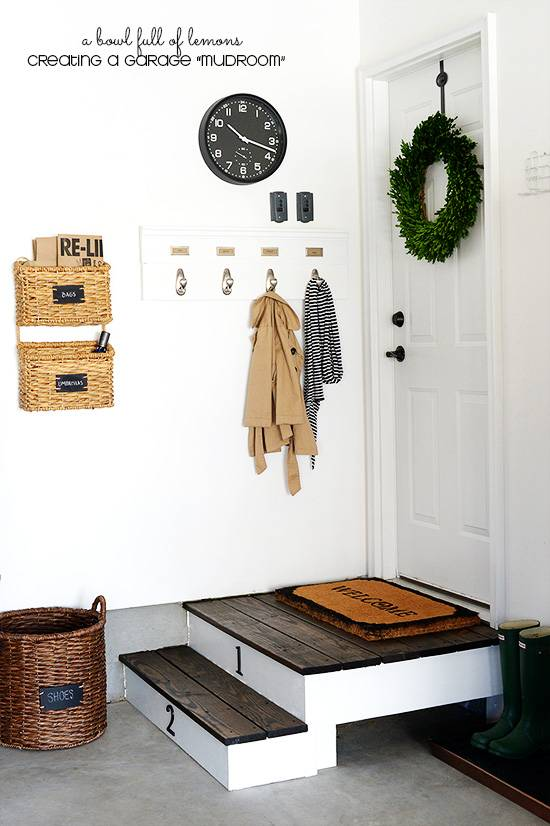 30+ Creative Ways to Organize Your Garage --> Don't have the space for a mudroom? You can turn your garage entry into an awesome mudroom