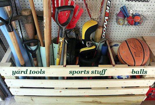30+ Creative Ways to Organize Your Garage --> Build a wooden corral to store those oddly-shaped and clunky items