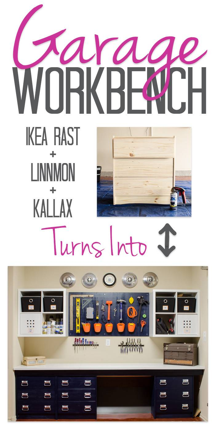 30+ Creative Ways to Organize Your Garage --> Turn chests of drawers into a beautiful garage workbench