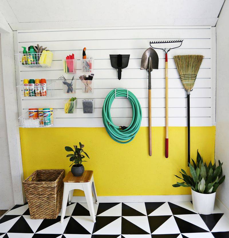30+ Creative Ways to Organize Your Garage --> Use a wall panel to hang and organize project supplies and cleaning supplies