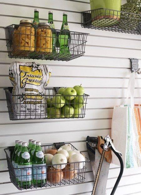 30+ Creative Ways to Organize Your Garage --> Wire basket storage