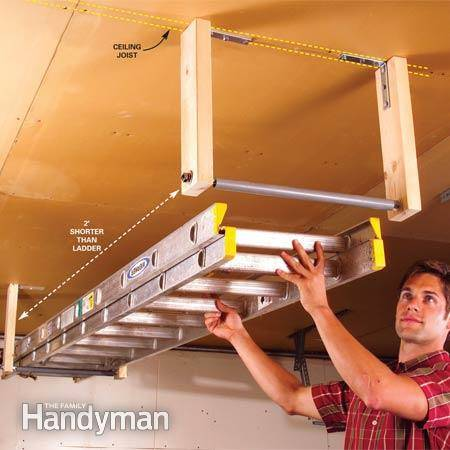 30+ Creative Ways to Organize Your Garage --> Out-of-the-way ladder storage