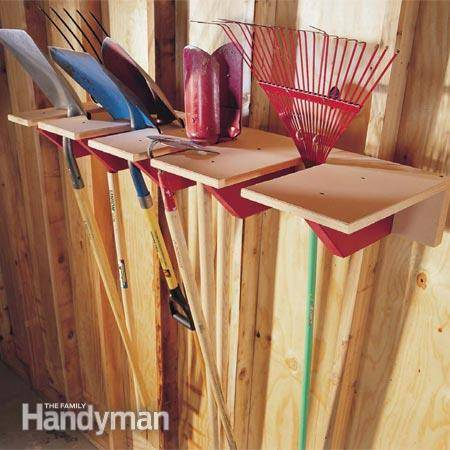 30+ Creative Ways to Organize Your Garage --> DIY wooden shovel rack to store long-handled tools