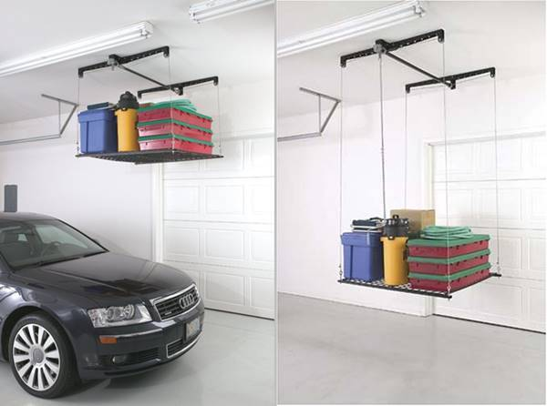 30+ Creative Ways to Organize Your Garage --> Roof-mounted garage stock rack to save space