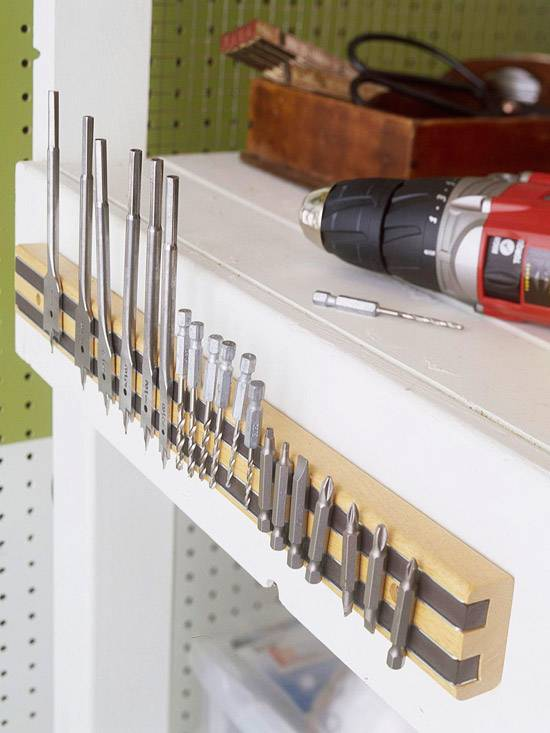 30+ Creative Ways to Organize Your Garage --> Organize drill bits, nails, screws, wrenches etc. with a magnetic tool holder