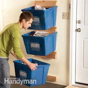 30+ Creative Ways to Organize Your Garage --> Create recycle bin hangers to keep them off the floor and avoid taking up valuable floor space