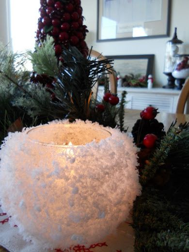 40+ Creative DIY Holiday Candles Projects --> Snowball Votive Candle Holders