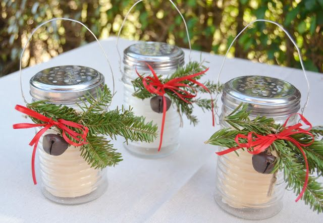 40+ Creative DIY Holiday Candles Projects --> Festive Little Luminaries Using Cheese Shaker Containers