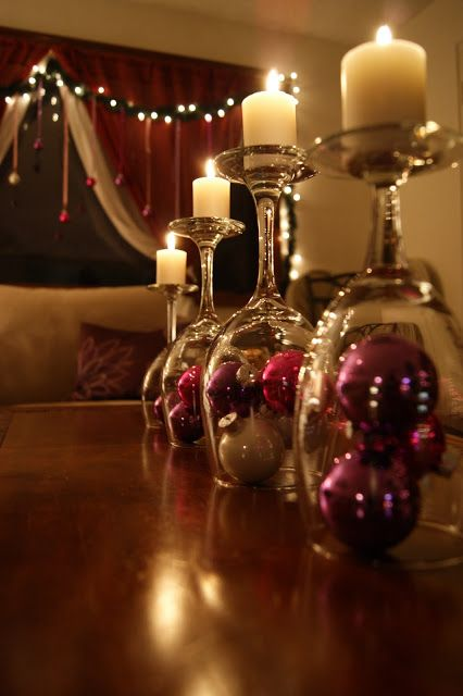 40+ Creative DIY Holiday Candles Projects --> Upside Down Wine Glass Candle Holders Centerpiece