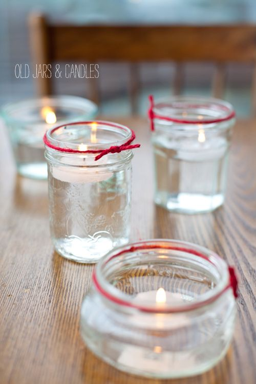 40+ Creative DIY Holiday Candles Projects --> Old Jam and Mason Jar Candle Holders