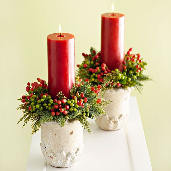 40+ Creative DIY Holiday Candles Projects --> Berry-Trimmed Candles