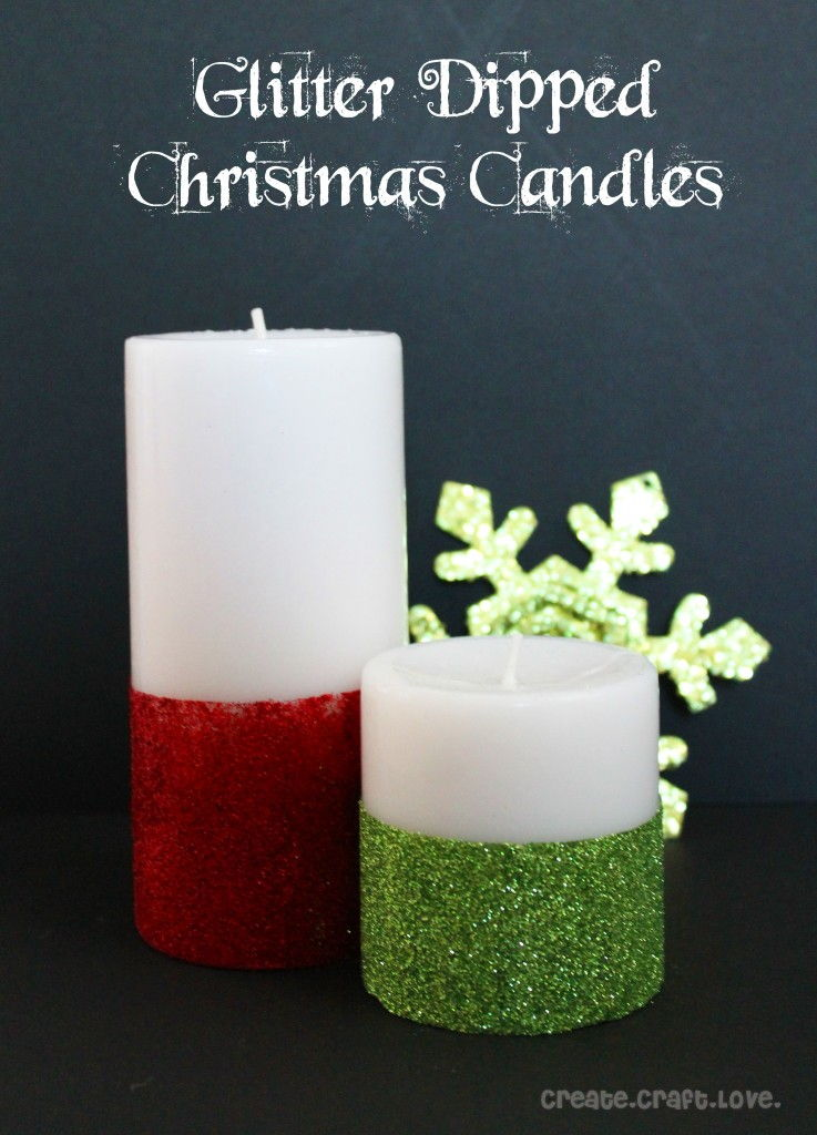 40+ Creative DIY Holiday Candles Projects --> Glitter Dipped Christmas Candles