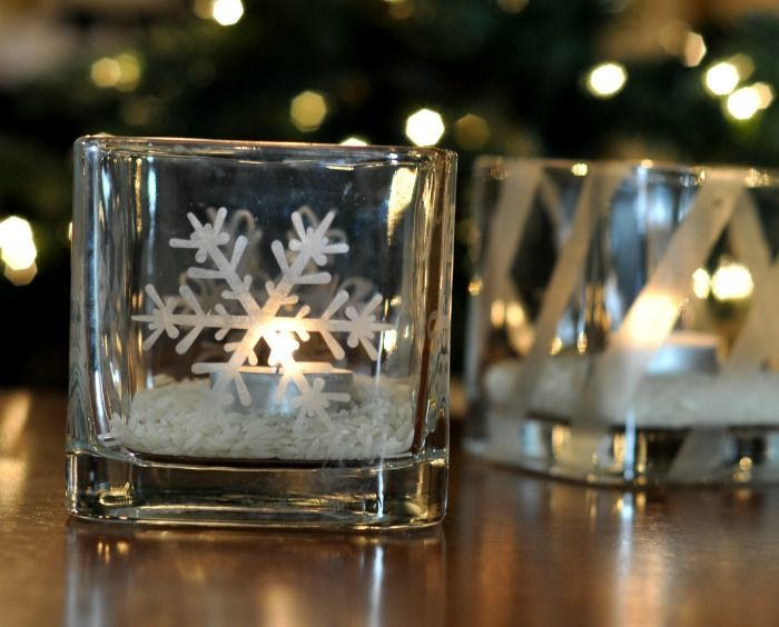 40+ Creative DIY Holiday Candles Projects --> Glass-Etched Votive Candle Holders