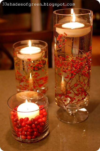 40+ Creative DIY Holiday Candles Projects --> Easy Handmade Holiday Centerpiece Idea with Berries and Branches