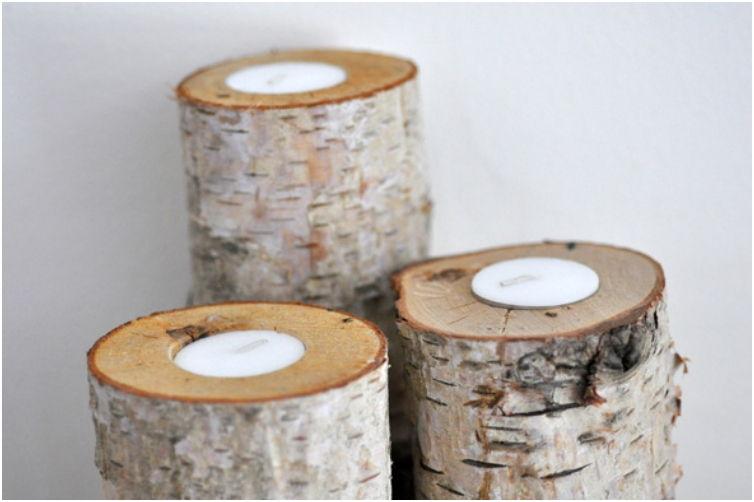 40+ Creative DIY Holiday Candles Projects --> Birch Log Candle Holders