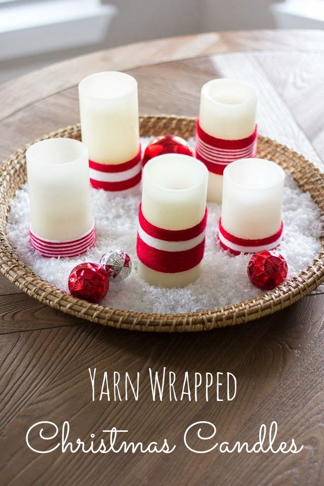 40+ Creative DIY Holiday Candles Projects --> Yarn Wrapped Christmas Candles