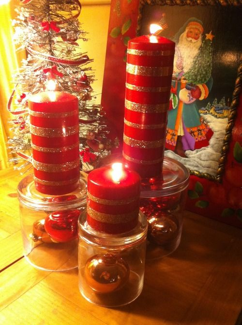 40+ Creative DIY Holiday Candles Projects --> Glitter Candles with Double Stick Tape