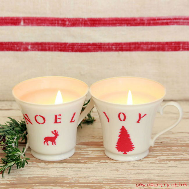 40+ Creative DIY Holiday Candles Projects --> Easy Christmas Teacup Candles