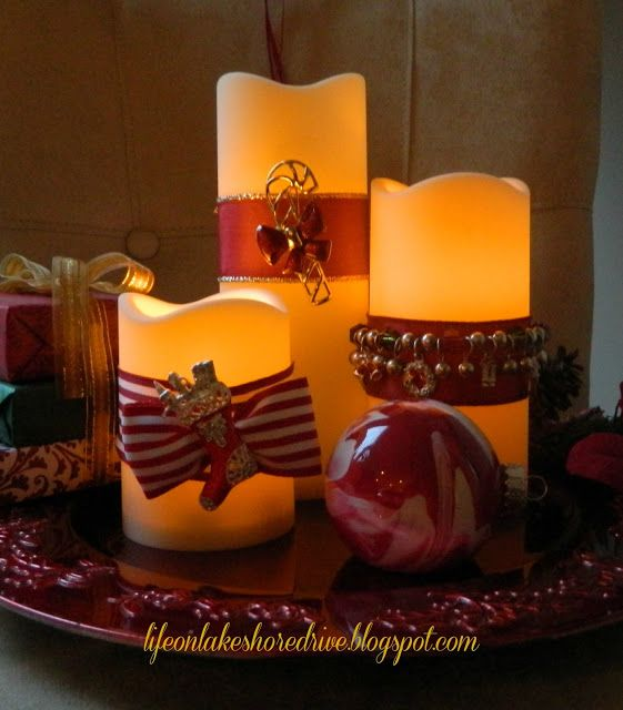 40+ Creative DIY Holiday Candles Projects --> DIY Christmas Jewelry for Candles