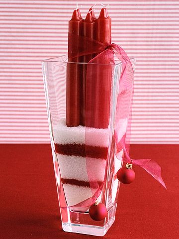 40+ Creative DIY Holiday Candles Projects --> Candy Cane Candle Centerpiece