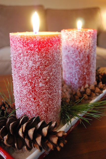 40+ Creative DIY Holiday Candles Projects --> Snow Candles