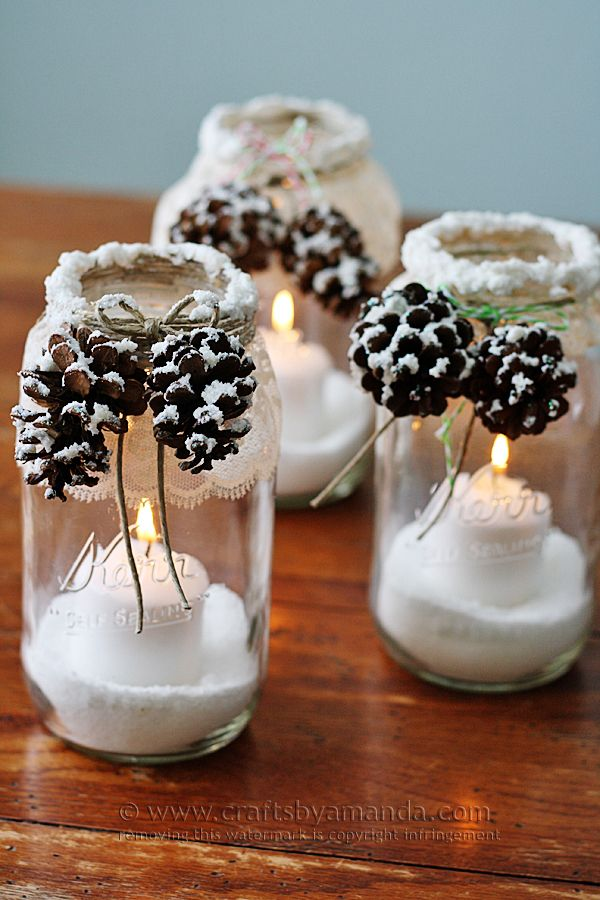 40+ Creative DIY Holiday Candles Projects --> Snowy Pinecone Candle Jars