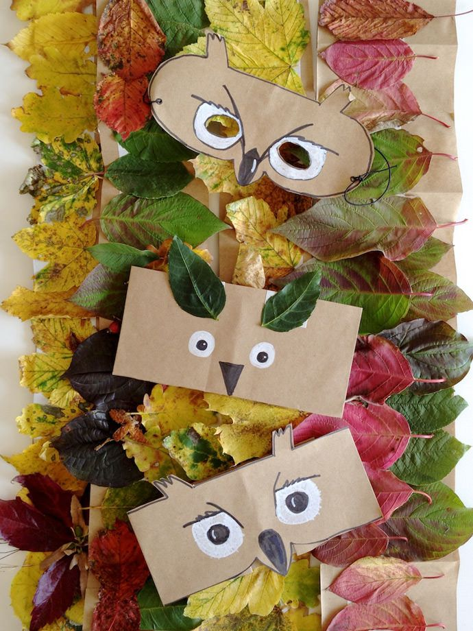 40+ Creative DIY Craft Projects with Fall Leaves --> DIY Leaf Crowns and Animal Masks