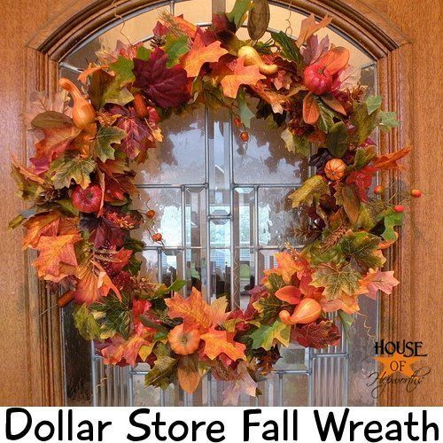 40+ Creative DIY Craft Projects with Fall Leaves --> Dollar Store Fall Wreath