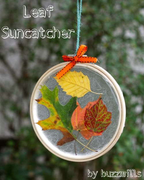 40+ Creative DIY Craft Projects with Fall Leaves --> Embroidery Hoop Leaf Suncatchers