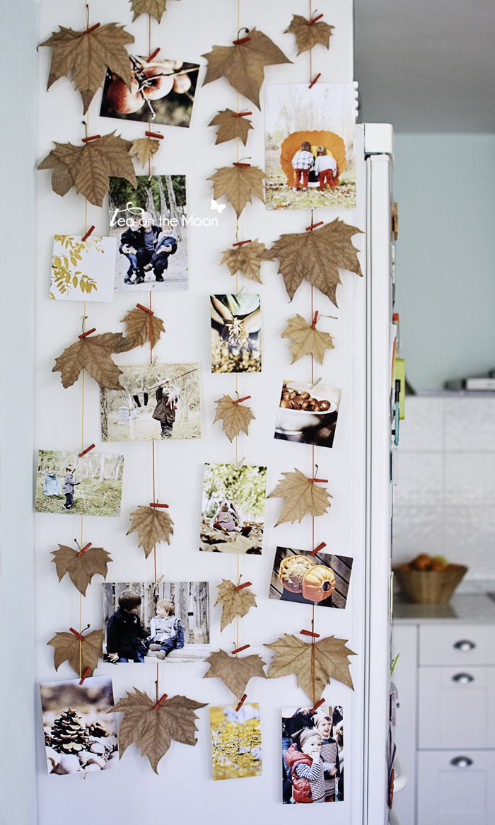 40+ Creative DIY Craft Projects with Fall Leaves --> Autumn Leaf Photo Wall