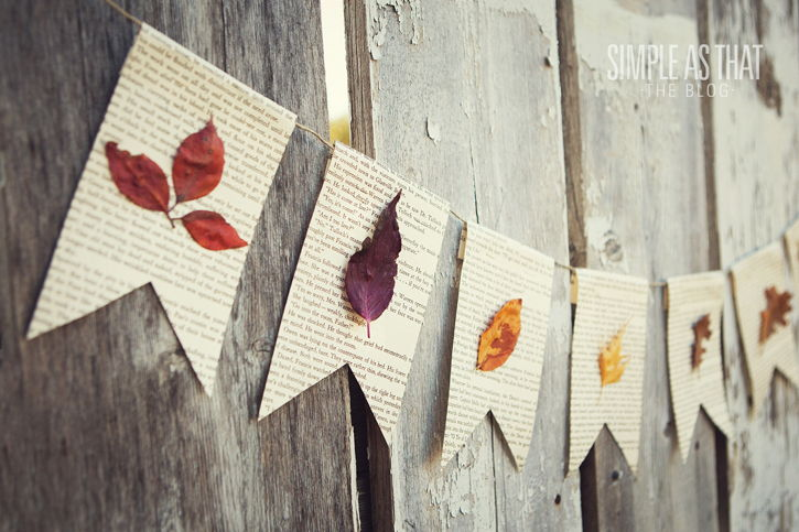 40+ Creative DIY Craft Projects with Fall Leaves --> Fall Leaf Book Page Banner