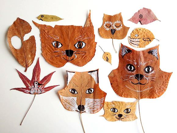 40+ Creative DIY Craft Projects with Fall Leaves --> DIY Fall Leaf Animals
