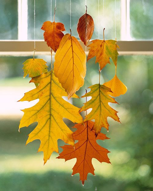 40+ Creative DIY Craft Projects with Fall Leaves --> Hanging Leaves