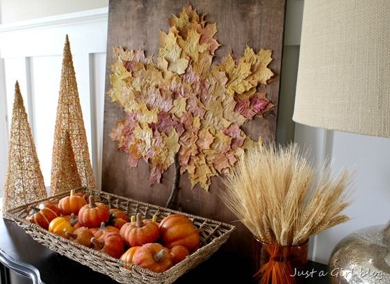 40+ Creative DIY Craft Projects with Fall Leaves --> DIY Giant Leaf Art