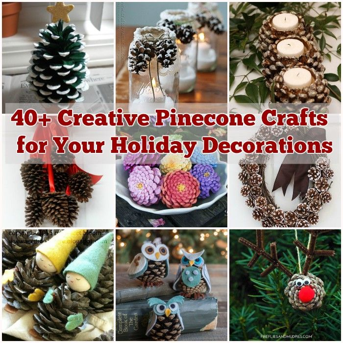 40 creative pinecone crafts for your holiday decorations - Homemade Pine Cone Christmas Decorations
