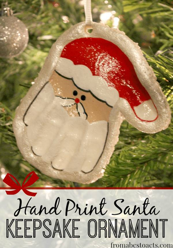 40+ Creative Handprint and Footprint Crafts for Christmas --> Hand Print Santa Keepsake Ornament