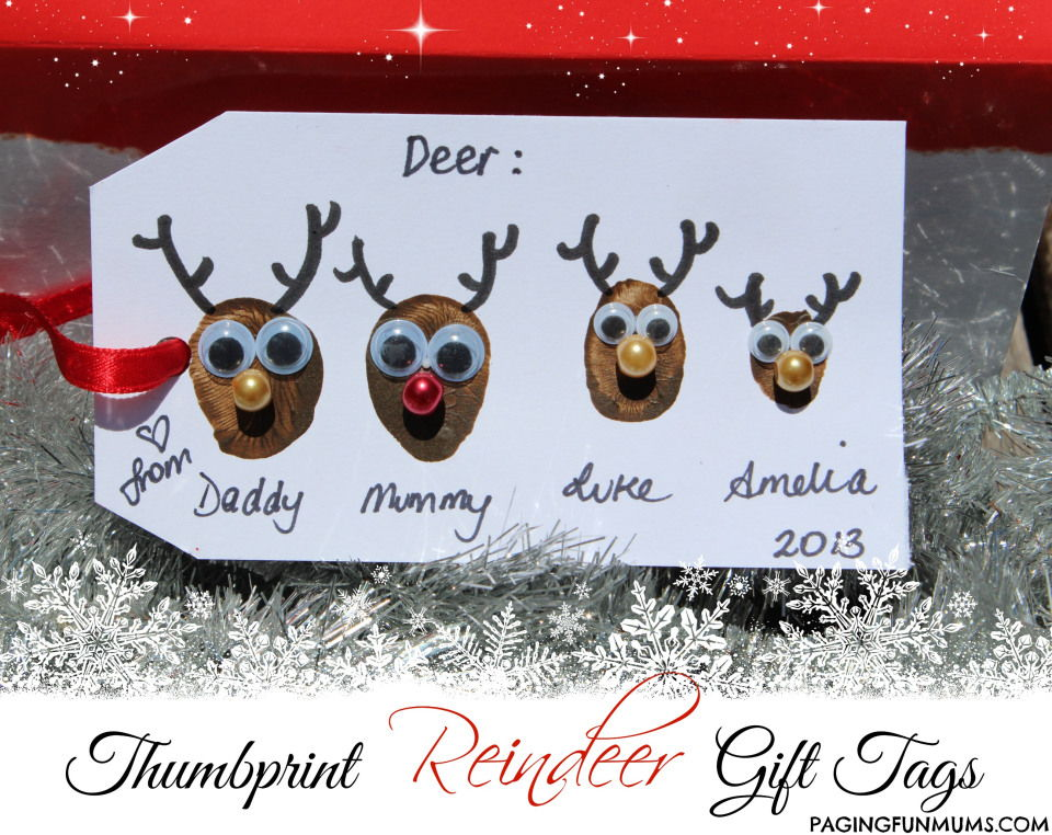 40+ Creative Handprint and Footprint Crafts for Christmas --> Thumbprint Reindeer Gift Tags
