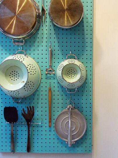 40+ Organization and Storage Hacks for Small Kitchens --> DIY pegboard wall organizer