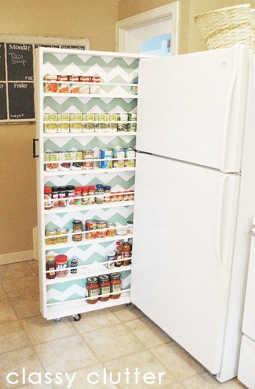 40+ Organization and Storage Hacks for Small Kitchens --> DIY canned food organizer to fit the narrow space in your kitchen