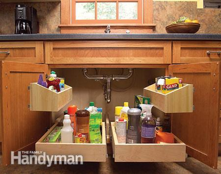 40+ Organization and Storage Hacks for Small Kitchens --> Build storage trays to maximize the space under the kitchen sink